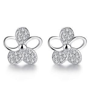 Silver CZ Flower Petal Earrings